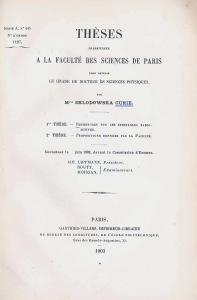 Titebladet till Marie Curies avhandling