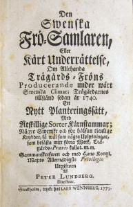 Titelblad till Den Swenska Frö-Samlaren